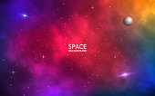 Space background. Realistic colorful galaxy. Color nebula with shining stars, stardust and planet. Abstract futuristic backdrop. Vector Illustration for brochure, banner, poster
