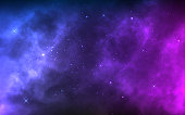 Space background with realistic nebula and shining stars. Colorful cosmos with stardust and milky way. Magic color galaxy. Infinite universe and starry night. Vector illustration