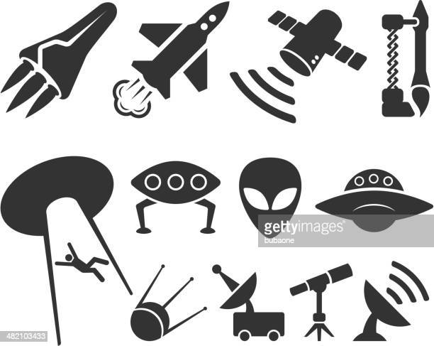 space black and white royalty free vector icon set