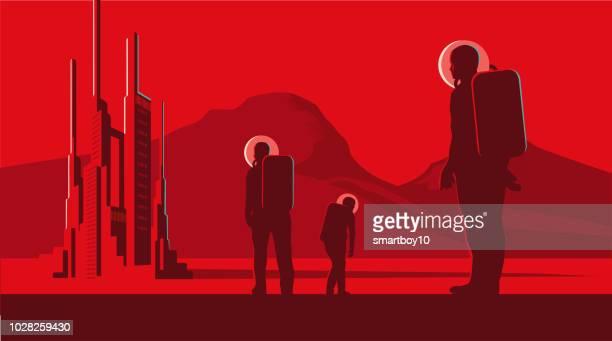 illustrazioni stock, clip art, cartoni animati e icone di tendenza di space city - missile razzo spaziale
