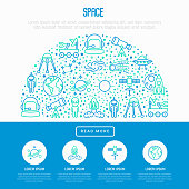 Space concept in half circle with thin line icons: rocket, Earth, lunar rover, space station, teelscope,alien,meteorite. Modern vector illustration for banner, print media, web page.