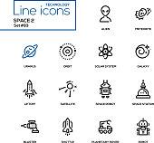Space concept - line design icons set