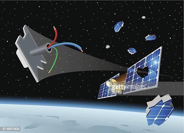 space debris destroys the solar panel of a satellite - orbiting stock illustrations