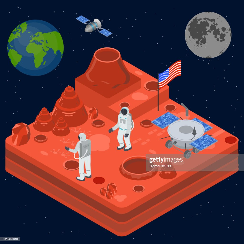 Space Discovery Concept 3d Isometric View. Vector