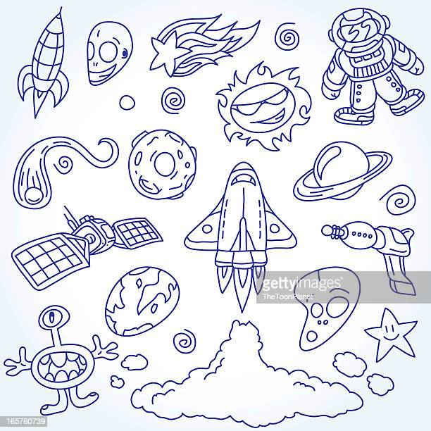 space doodles set - ballpoint pen stock illustrations, clip art, cartoons, & icons