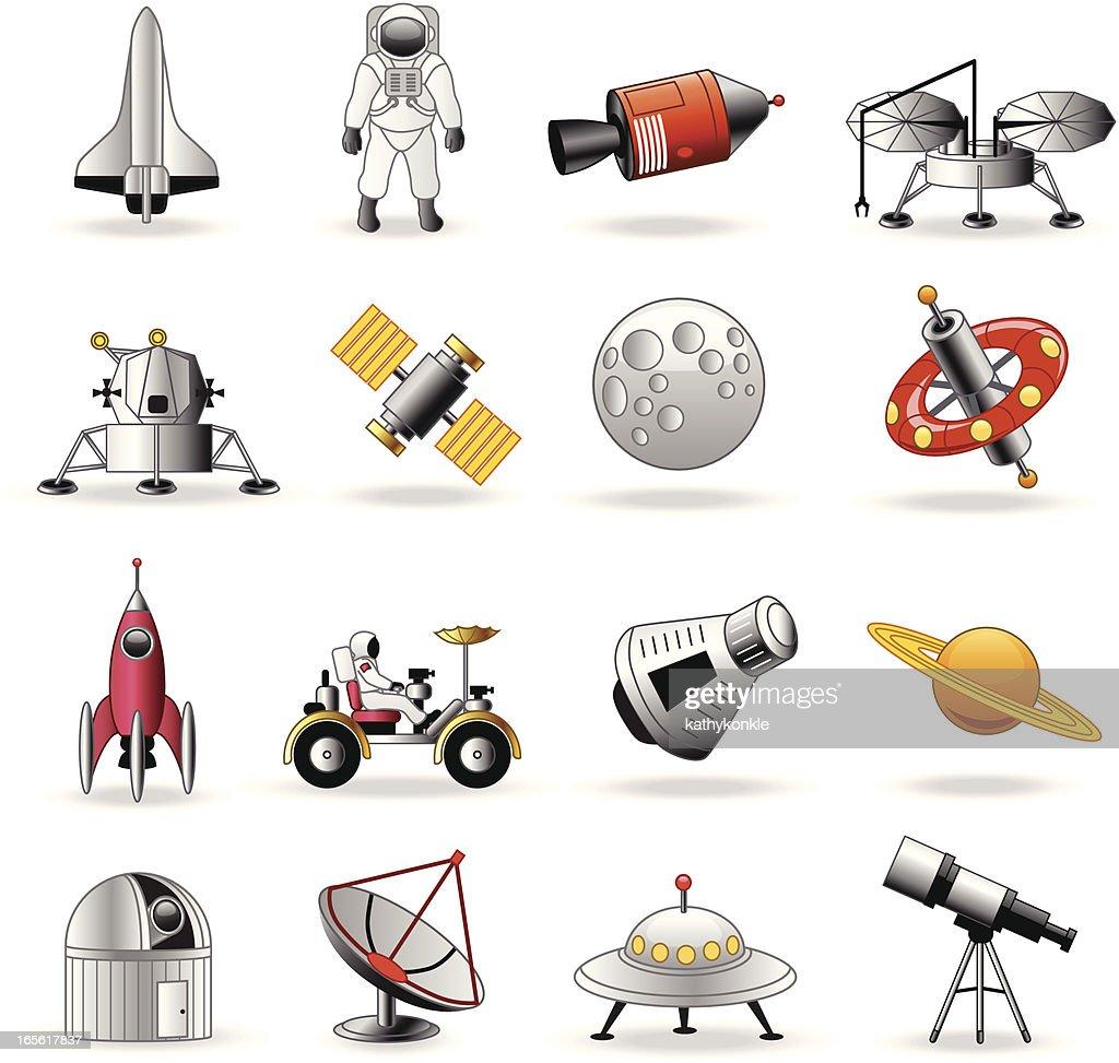 Space exploration icons cartoon