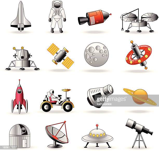 Space exploration icons cartoon