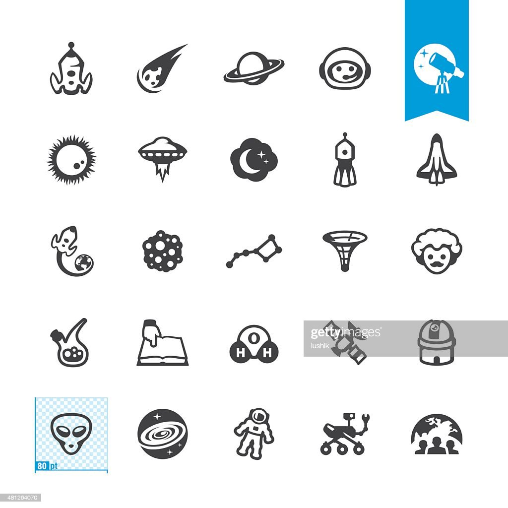 Space Exploration related vector icons