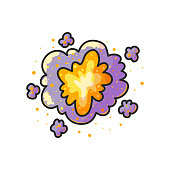 Space explosion hand drawn color illustration.