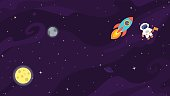 Space flat cute vector background.