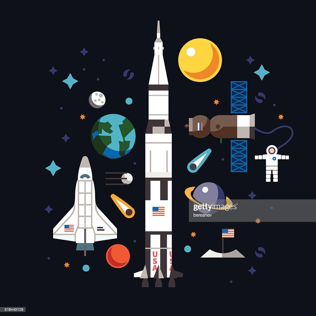 Space flat icon set