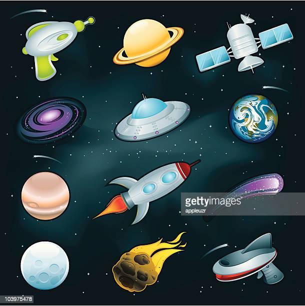 Galáxias e ícones do planeta de espaço