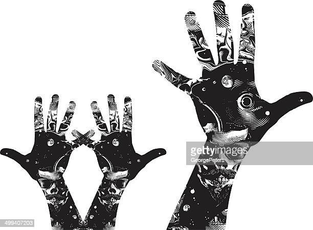 space hands - surrealism stock illustrations