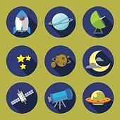 Space icon illustration flat design