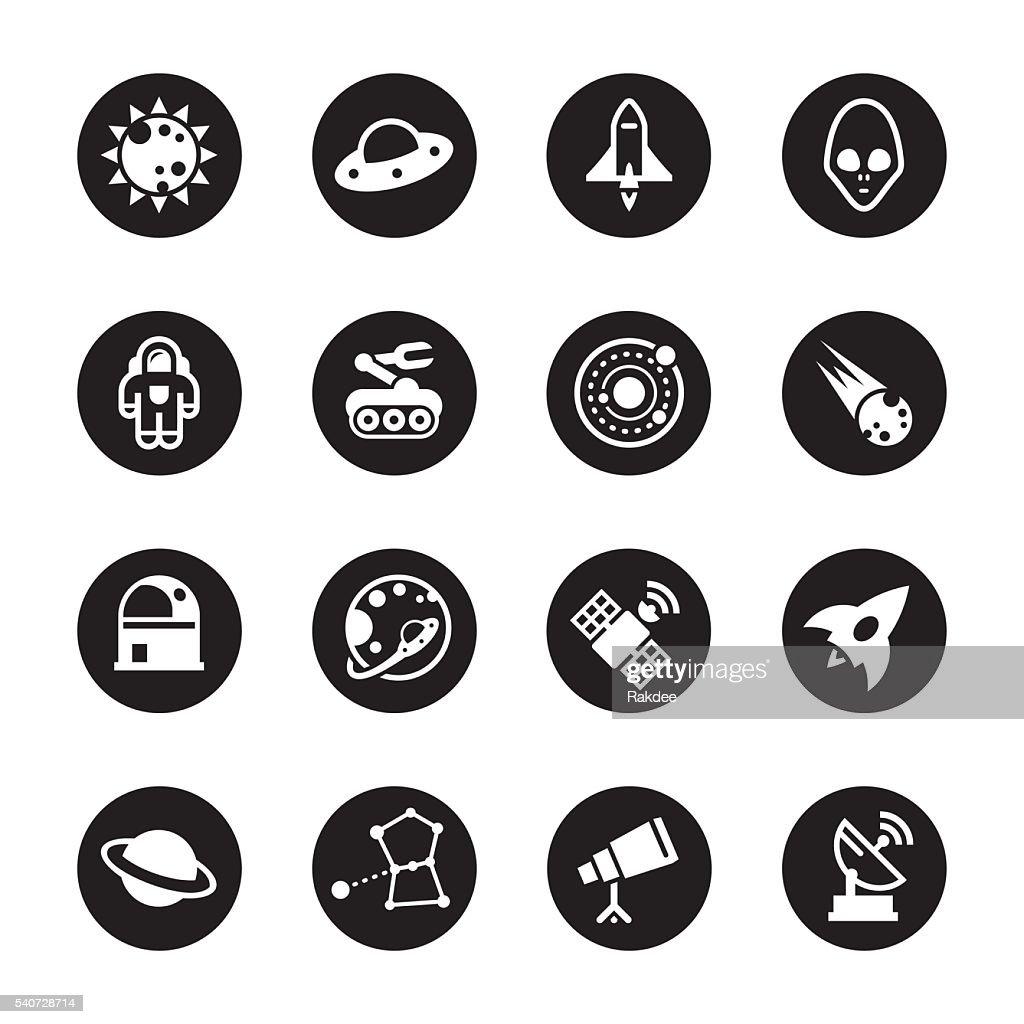Space Icons - Black Circle Series
