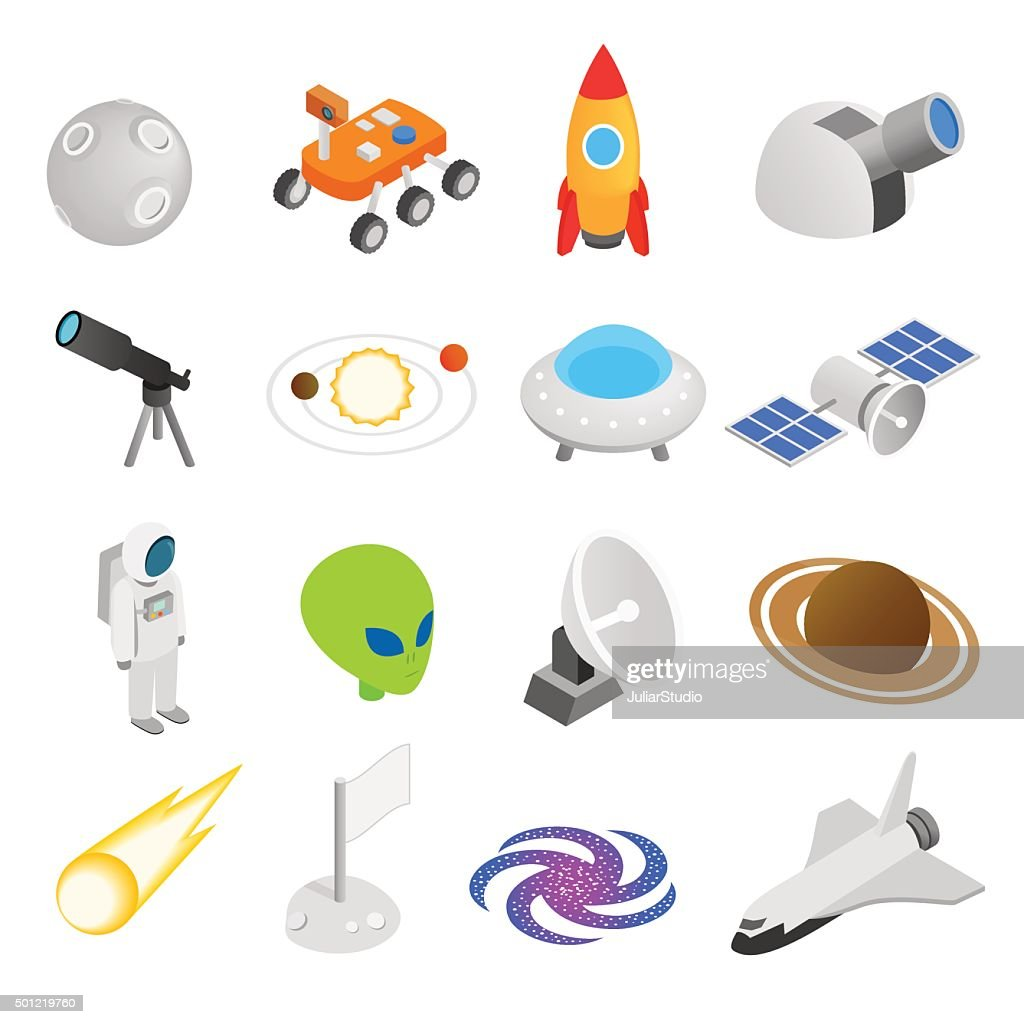 Space isometric 3d icons