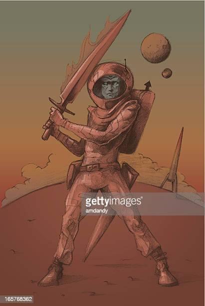 ilustrações, clipart, desenhos animados e ícones de de espaço landing - vestuário de proteção