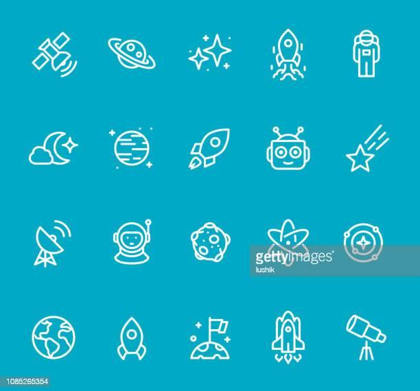 ilustraciones, imágenes clip art, dibujos animados e iconos de stock de espacio - conjunto de iconos de línea - atomic imagery