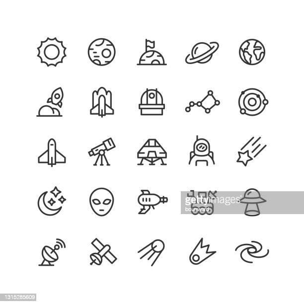 space line icons editable stroke - astronomie stock-grafiken, -clipart, -cartoons und -symbole