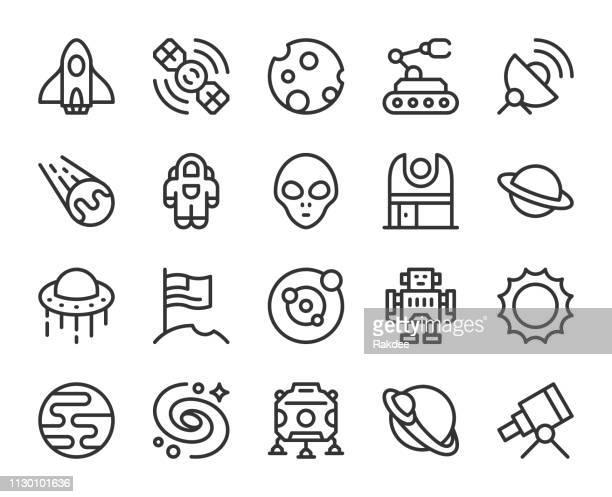 illustrations, cliparts, dessins animés et icônes de espace - icônes de ligne - extraterrestre