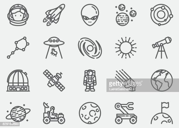 space line icons - planet space stock illustrations