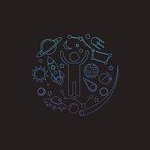 Space logo. Cosmos elements