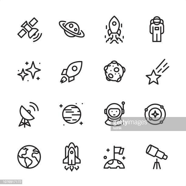space - outline icon set - planet space stock illustrations