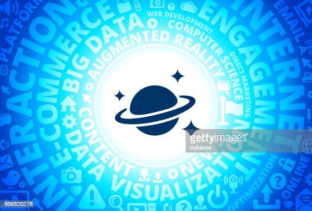 Space & Planet Icon on Internet Modern Technology Words Background