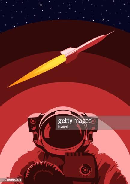 ilustrações de stock, clip art, desenhos animados e ícones de space poster - astronauta