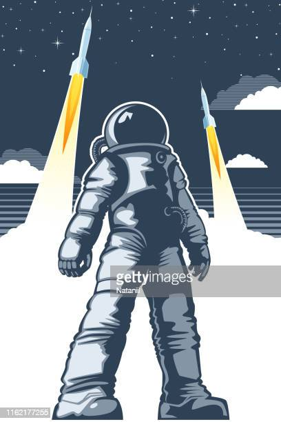 space poster - astronaut stock illustrations, clip art, cartoons, & icons