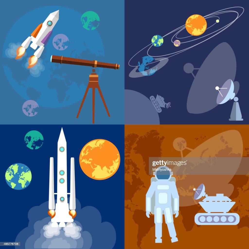 Space program vector icons