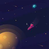 Space realistic vector background with astronaut, rocket, spaceship, moon, planets and stars. Space for your text.