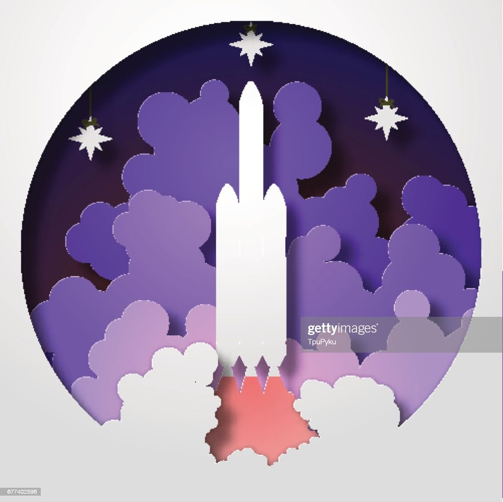 Space Rocket startup. Paper cut style. Vector illustration