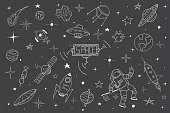 Space set in doodle style.Hand drawn