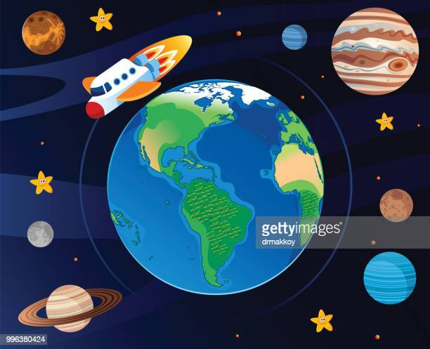 space ship and earth - neptune planet stock illustrations
