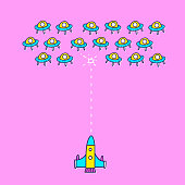 Space ship invaders shooting game.