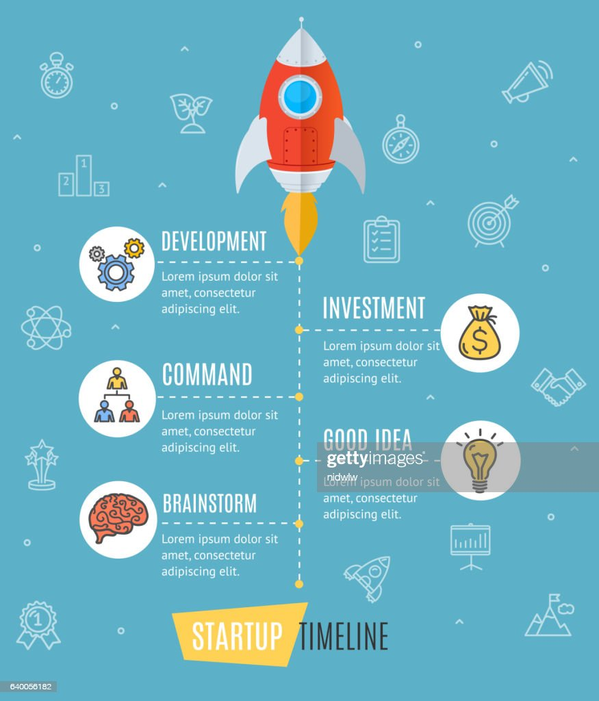 Space Ship Start Up Infographic. Vector