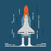 space shuttle and rocket in flat style a vector.Design element for the space and scientific website and toy stores, for games.