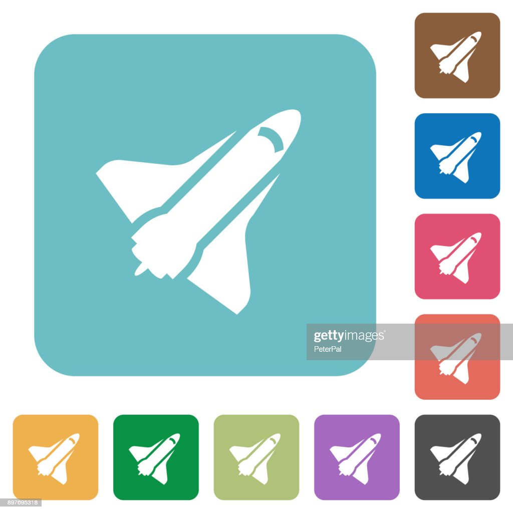Space shuttle rounded square flat icons