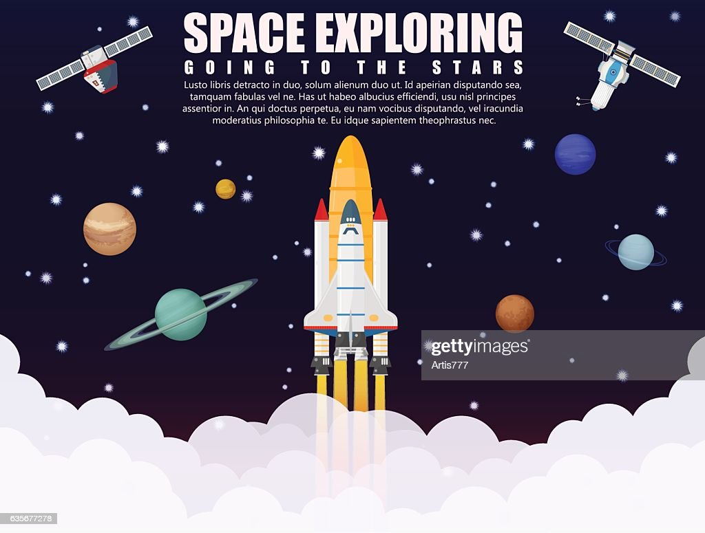 Space shuttle ship rocket launch exploring and research with realistic
