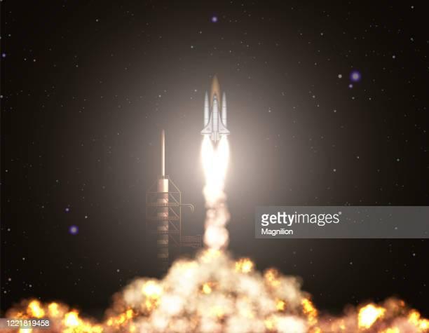 space shuttle start off - stapellauf stock-grafiken, -clipart, -cartoons und -symbole
