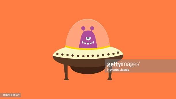 ilustraciones, imágenes clip art, dibujos animados e iconos de stock de ilustración de dibujos animados ufo espacio transporte vector - ovni