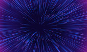 Space speed dynamic motion pattern background. Vector abstract starburst explosion of neon light rays or lines tunnel on geometric background