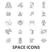 Space, star, planet, spaceship, outer, galaxy, astronaut, earth, universe, moon line icons. Editable strokes. Flat design vector illustration symbol concept. Linear signs isolated