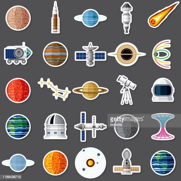 space sticker set - international space station stock illustrations
