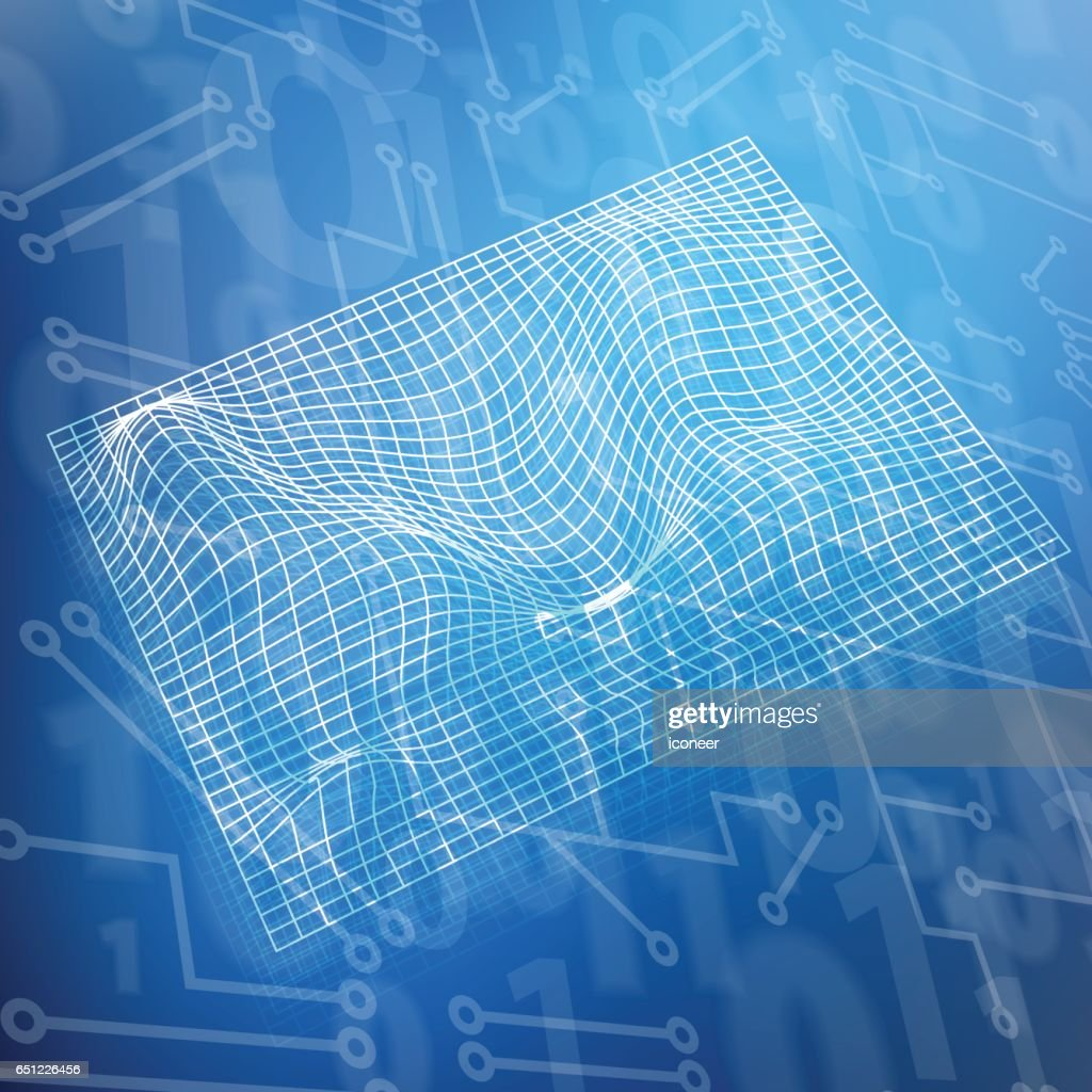 Space Time Grid On Blue Circuit Board Numbers Background Vector Art ...