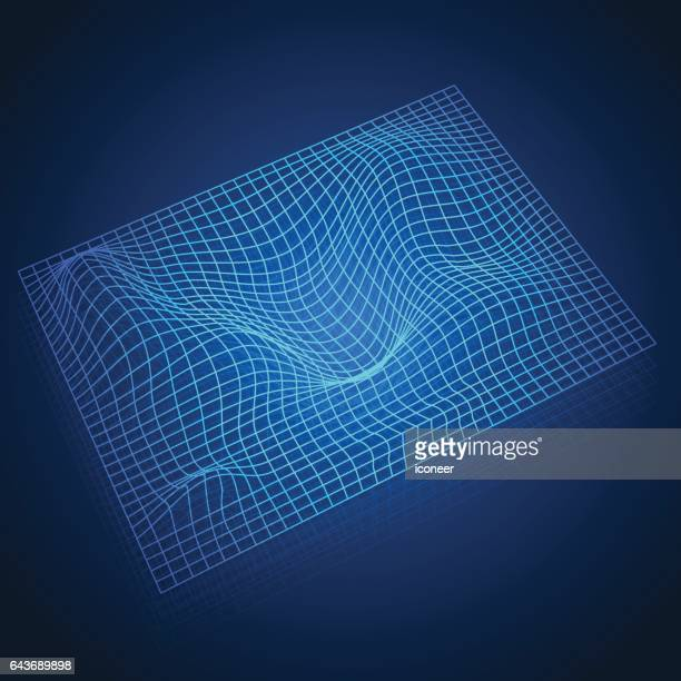 space time grid on blue gradient background - astrophysics stock illustrations