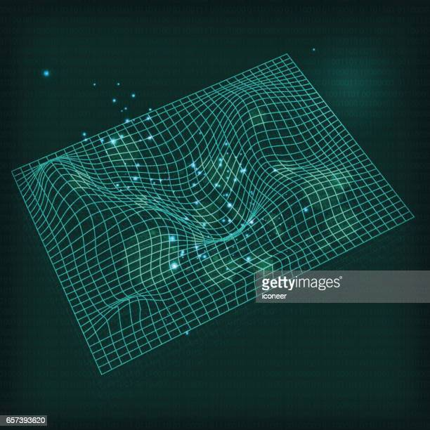 Space time grid on dark green background