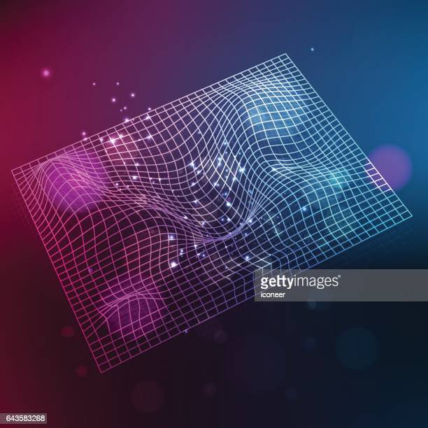 space time grid on multicolored background - astrophysics stock illustrations