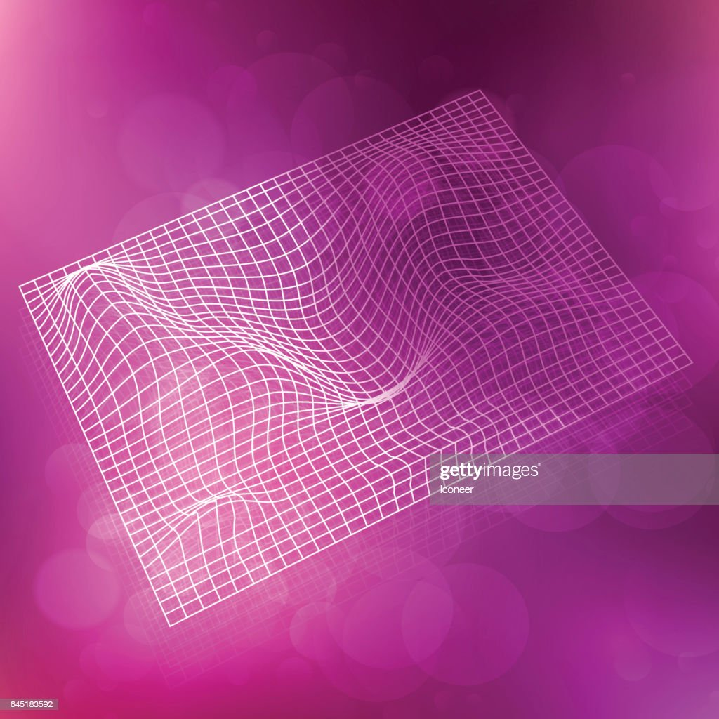 space time warped grid on purple colorful background stock